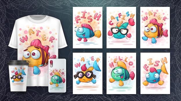 Conjunto de dibujo de peces lindos para póster y merchandising