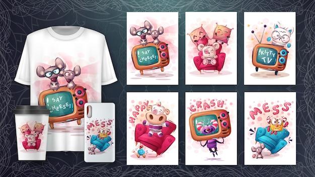 Conjunto de dibujo de personajes lindos para póster y merchandising