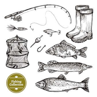 Conjunto de dibujo de pesca