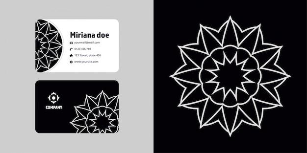 Conjunto de dibujo y tarjeta de visita de mandala. marca del logotipo de monoline