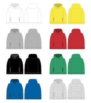 Conjunto de dibujo técnico para hombres con capucha. vista frontal y posterior.