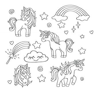 Conjunto de dibujo de unicornio, arcoiris, varita mágica