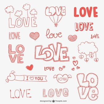 Conjunto de dibujos de amor