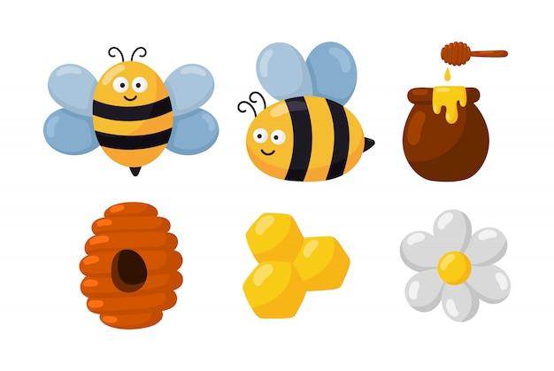 Conjunto de dibujos animados de abejas y miel aislado