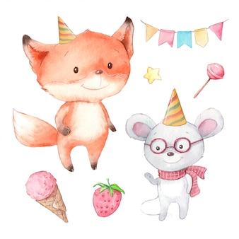 Conjunto de dibujos animados acuarela de lindo zorro y ratón, cumpleaños
