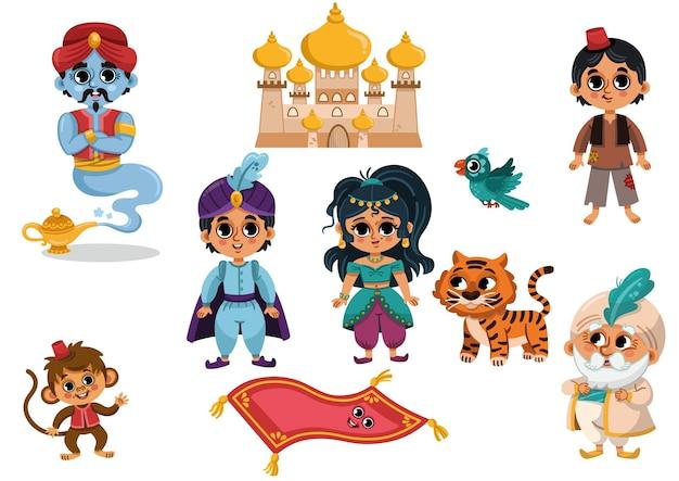 Un conjunto de dibujos animados aladdin aladdin clip artprince pegatina jasmine clip art aladdin party