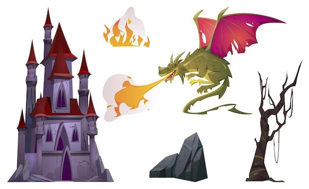 Conjunto de dibujos animados de aliento de dragón con fuego, antiguo castillo, árbol y roca