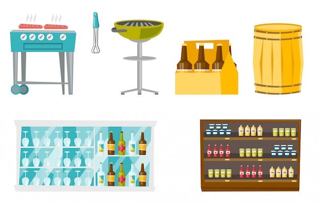 Conjunto de dibujos animados de alimentos y bebidas