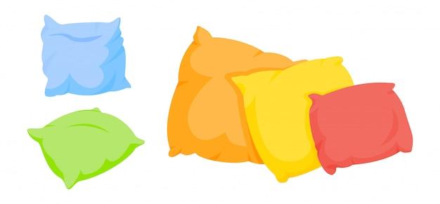 Conjunto de dibujos animados de almohadas de colores. textil interior para el hogar. almohadas cuadradas coloridas