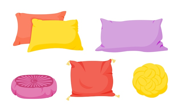 Conjunto de dibujos animados de almohadas de colores. textil interior para el hogar. almohadas cuadradas, nudo con borlas, puf
