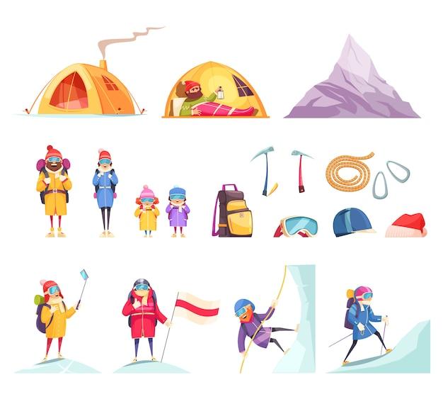 Conjunto de dibujos animados de alpinismo con escaladores equipo de engranaje ropa tienda de campaña casco piolet cuerda montaña