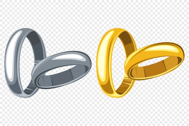 Conjunto de dibujos animados de anillos de boda aislado transparente