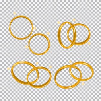 Conjunto de dibujos animados de anillos de boda de oro aislado en un fondo transparente.
