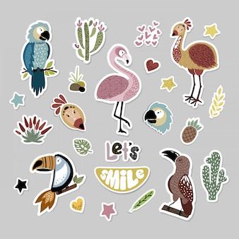 Conjunto de dibujos animados de animales africanos, pegatinas.