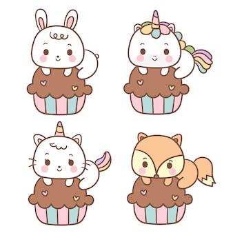 Conjunto de dibujos animados de animales de cupcake kawaii
