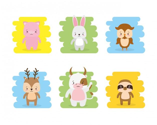 Conjunto de dibujos animados de animales lindos y estilo plano, ilustración