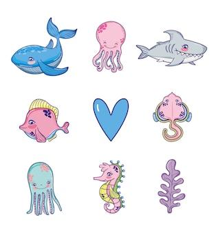 Conjunto de dibujos animados de animales marinos