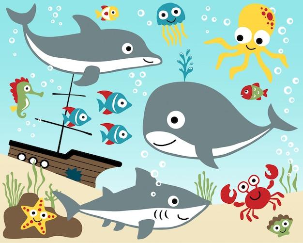 Conjunto de dibujos animados de animales marinos.