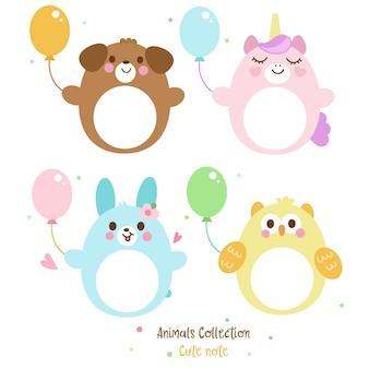 Conjunto de dibujos animados animales nota con vector de globo