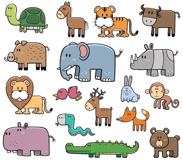 Conjunto de dibujos animados de animales salvajes