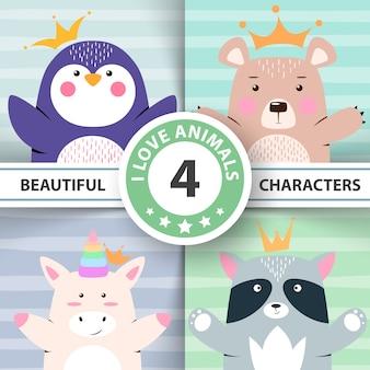 Conjunto de dibujos animados de animales