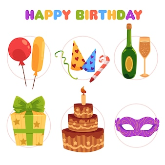Conjunto de dibujos animados de artículos de fiesta de cumpleaños, decoraciones
