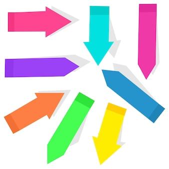Conjunto de dibujos animados de banderas de flecha índice pegajoso colorido aislado en un fondo blanco.