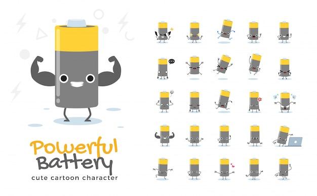 Conjunto de dibujos animados de batería. ilustración.