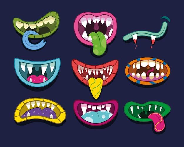 Conjunto de dibujos animados de boca de monstruo. ilustración de divertida sonrisa aterradora con lengua y dientes