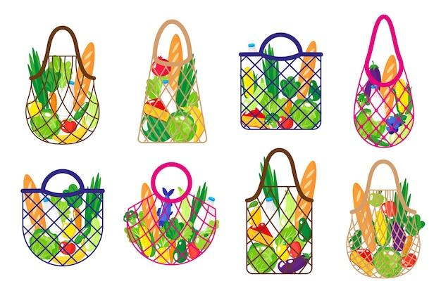 Conjunto de dibujos animados de bolsa de cuerda de supermercado o bolsa de malla de tortuga con alimentos orgánicos saludables aislado sobre fondo blanco.