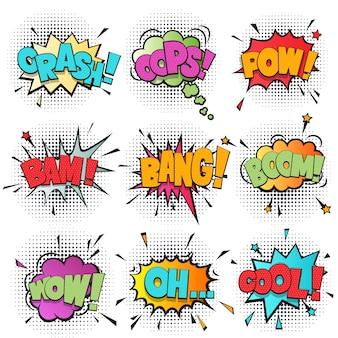 Conjunto de dibujos animados de burbujas de discurso cómico