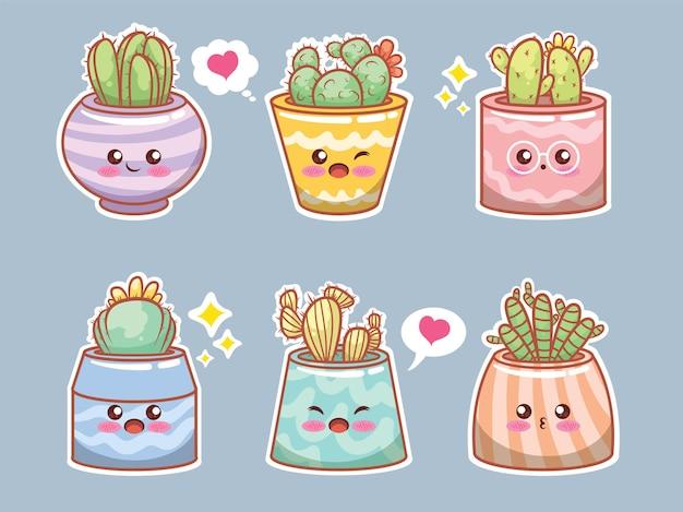 Conjunto de dibujos animados de cactus y plantas suculentas lindas