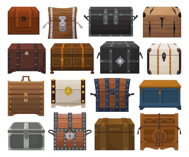 Conjunto de dibujos animados de caja de cofre aislado icono. conjunto de dibujos animados icono cofre. caja de cofre de ilustración sobre fondo blanco.
