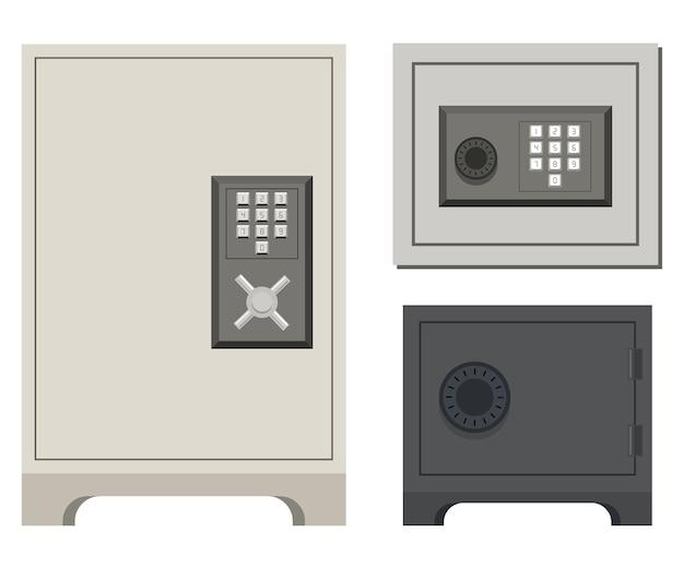 Conjunto de dibujos animados de caja fuerte