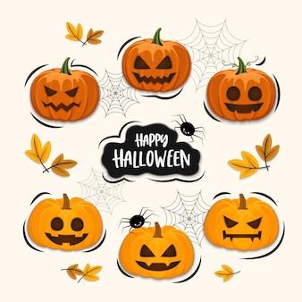 Conjunto de dibujos animados de calabazas, conjunto de elementos de halloween, aislado sobre fondo
