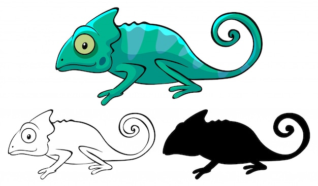 Conjunto de dibujos animados camaleón