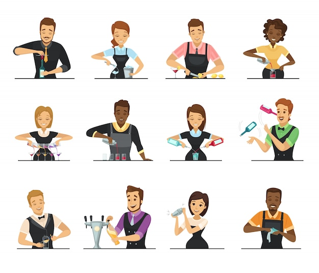 Conjunto de dibujos animados de camarero masculino y femenino