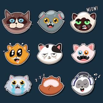 Conjunto de dibujos animados de cara de gato lindo aislado