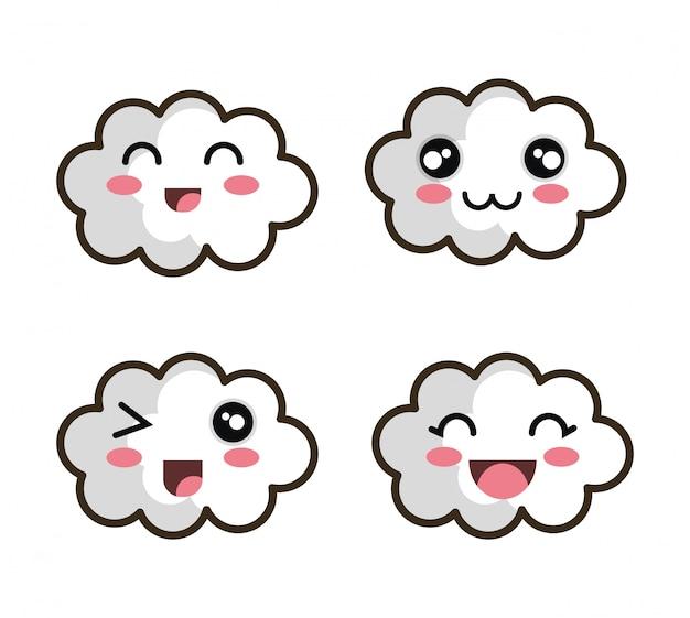 Conjunto de dibujos animados cara nube diseño