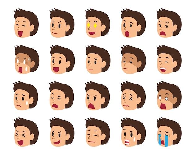 Conjunto de dibujos animados de caras de un hombre mostrando diferentes emociones