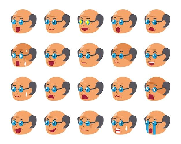 Conjunto de dibujos animados de caras de hombre senior mostrando diferentes emociones