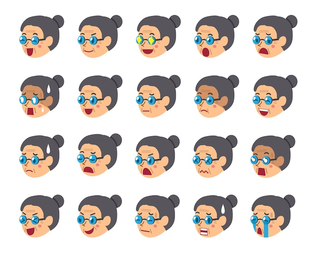 Conjunto de dibujos animados de caras de mujer senior mostrando diferentes emociones