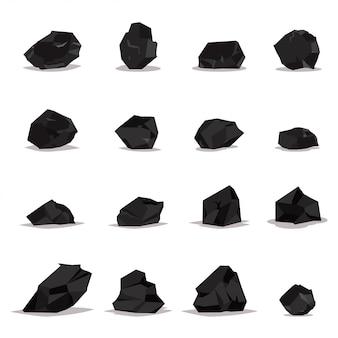 Conjunto de dibujos animados de carbón aislado