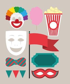 Conjunto de dibujos animados de carnaval