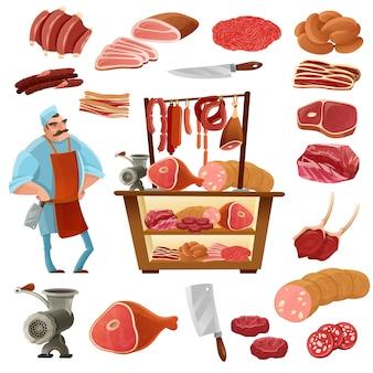 Conjunto de dibujos animados de carnicero