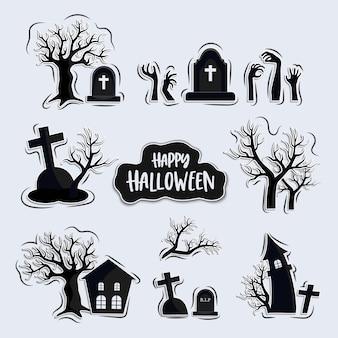 Conjunto de dibujos animados de cementerios, conjunto de elementos de halloween, aislado sobre fondo