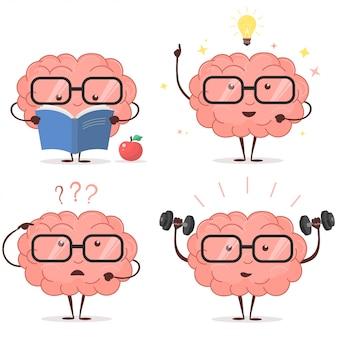 Conjunto de dibujos animados de cerebro