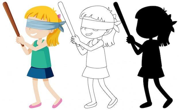 Conjunto de dibujos animados chica con los ojos vendados