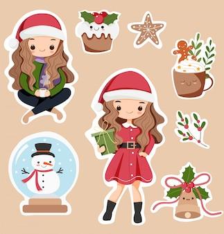 Conjunto de dibujos animados de chicas y elementos de navidad