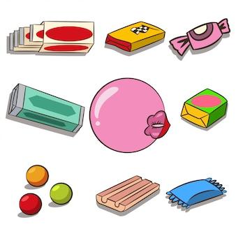 Conjunto de dibujos animados de chicle aislado en blanco. labios de mujer con chicle.